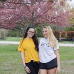 girls outside willow hall at rowan university