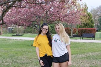 girls outside willow hall at rowan university