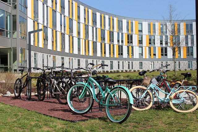 bicycles in a rack at rowan university