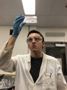 Student Eric Kohn examines a sample in the lab where he does research.