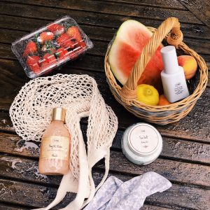 a photo of beauty care items and fresh fruit Nicole from Rowan University took for her internship