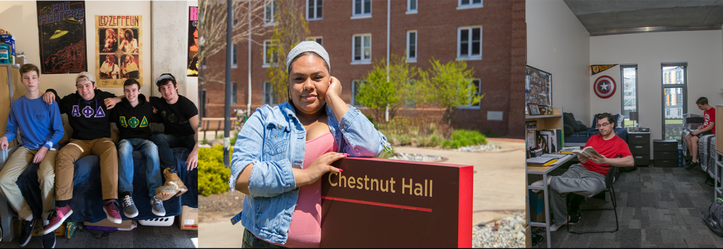 A college of rowan university students inside their residence halls.