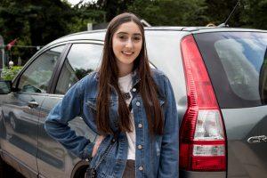 Rowan University commuter, Nicole outside her car