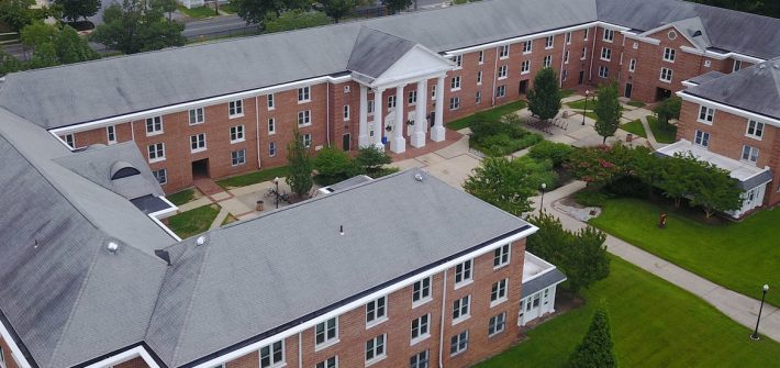 A drone shot of Rowan Universitys Chestnut Hall