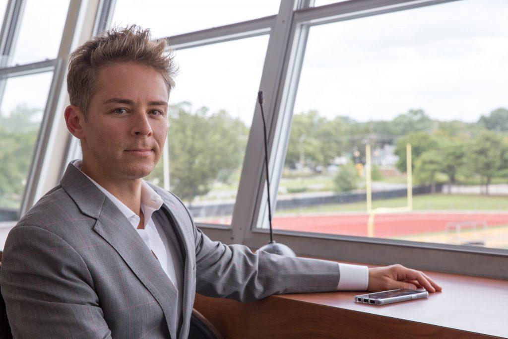 Emil Steiner inside the rowan university football sports booth