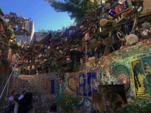 Horizontal view of a mosaic wall at the Magic Garden.