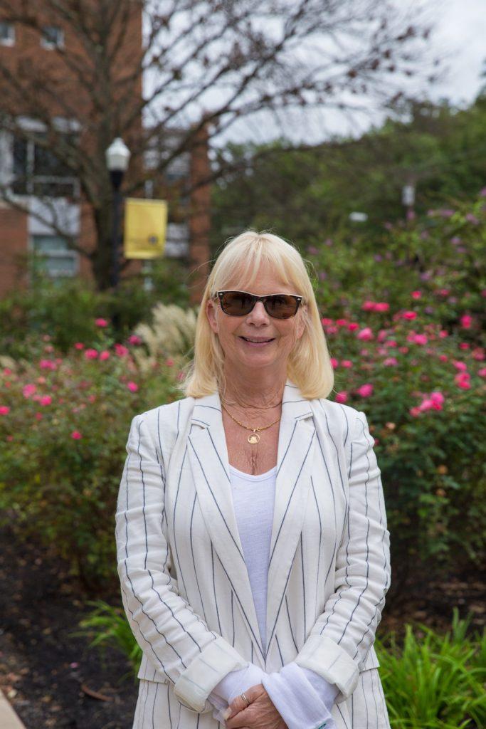 Rowan University Professor Kathy Balin outside Savitz Hall
