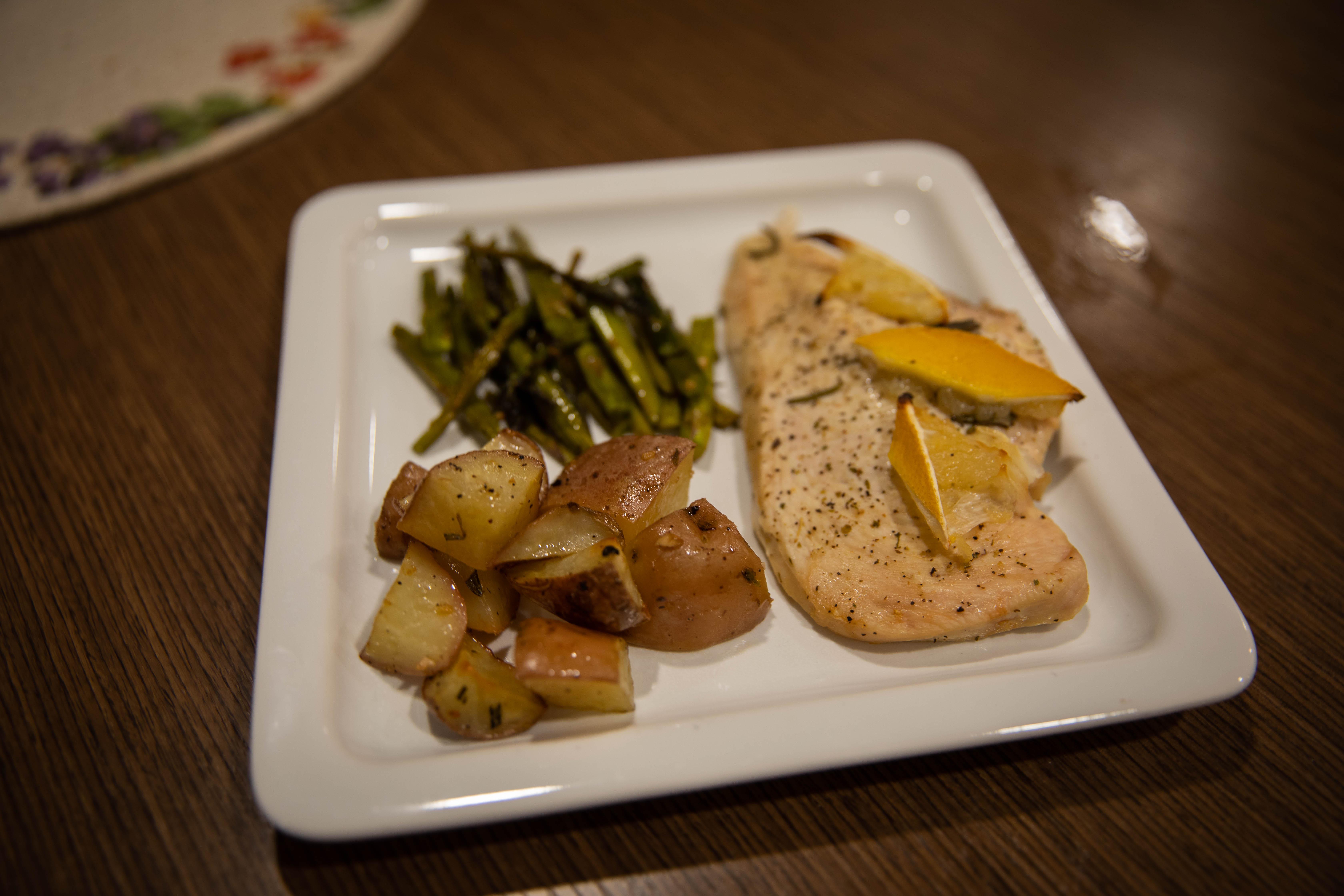 Plated food.