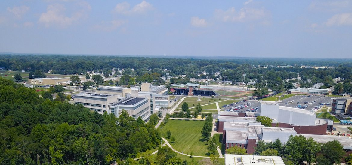 horizon view of Glassboro campus at Rowan University, from a drone
