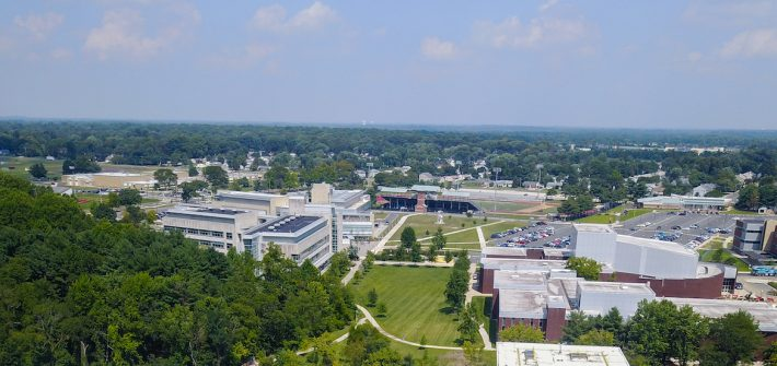 horizon view of Glassboro campus at Rowan University, from a drone