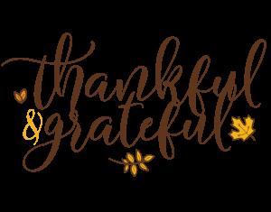 Thankful and grateful handwritten design