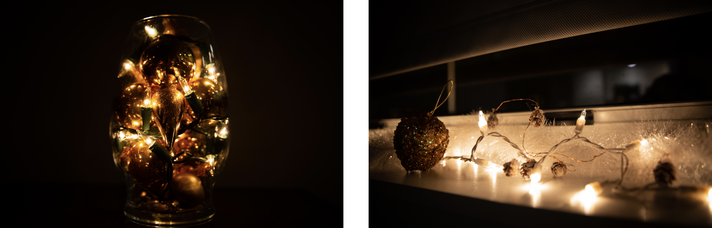 Photo (left) shows lights and ornament in vase, while photo (right) shows string lights and decorations on windowsill.