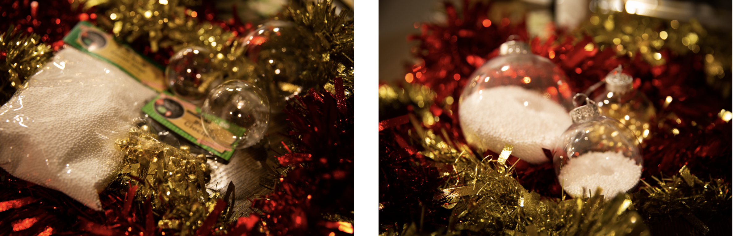 Photo (left) shows DIY ornament materials, while photo (right) shows finished DIY ornaments.