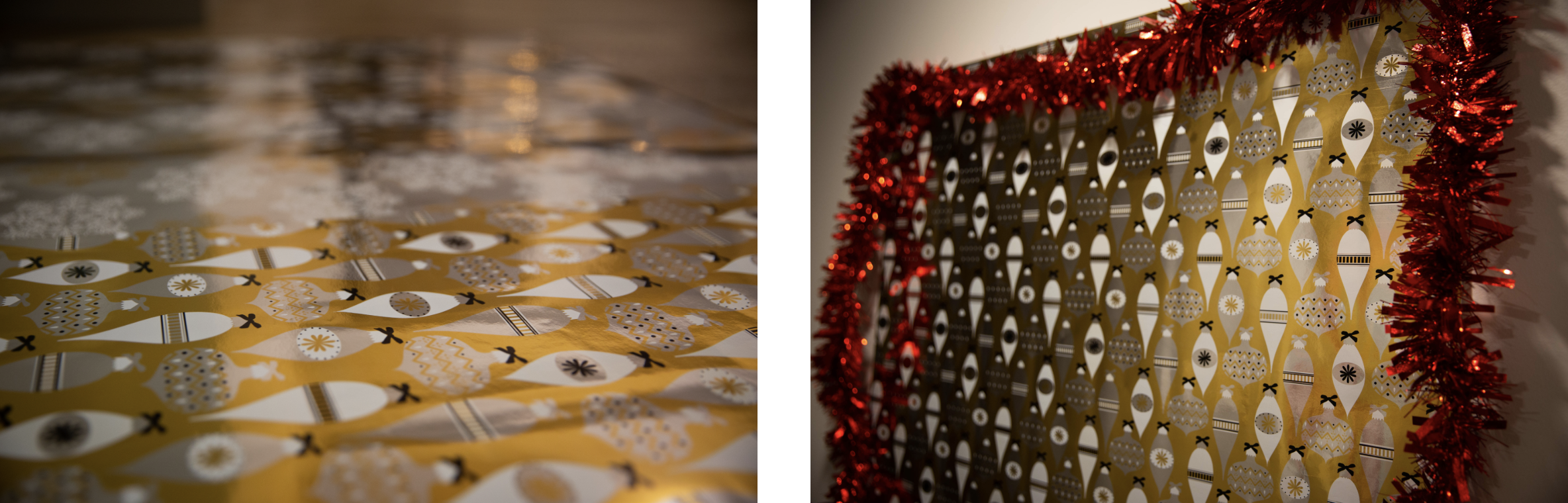 Photo (left) shows wrapping paper from an up-close view, while photo (right) shows finished selfie station.