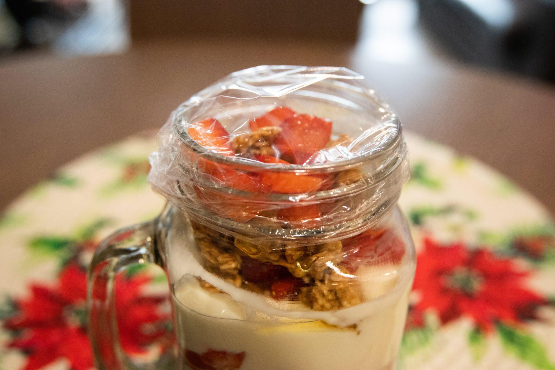 Photo of finished and sealed yogurt parfait.