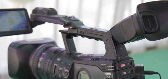 close up of video camera for a TV studio