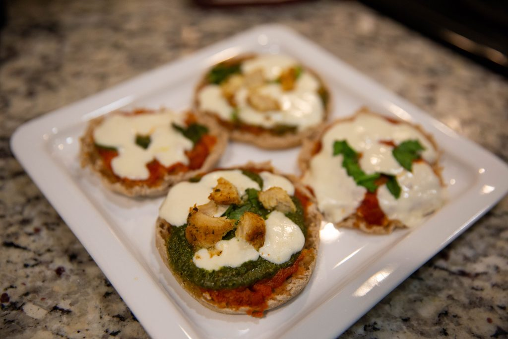 Baked english muffin pizzas.