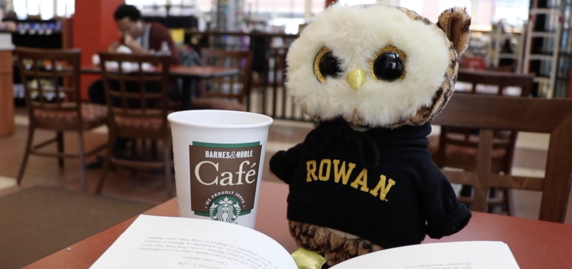 Owl in Barnes and nobles with coffee and a book