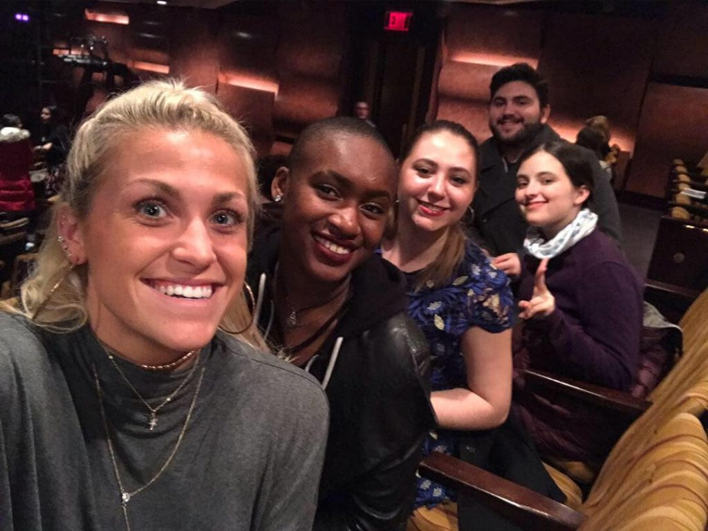 Vanessa and friends sitting in the audience at the show