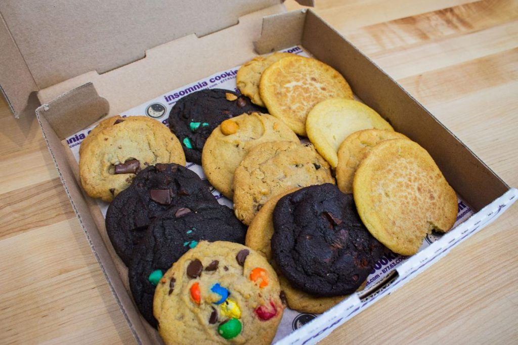 Insomnia cookies inside a box in Philly