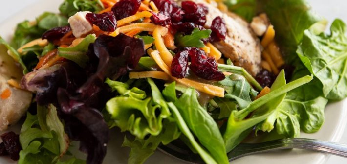 A leafy green salad is on a plate. It is topped with cranberries, grilled chicken, carrots, cheese and a light dressing.