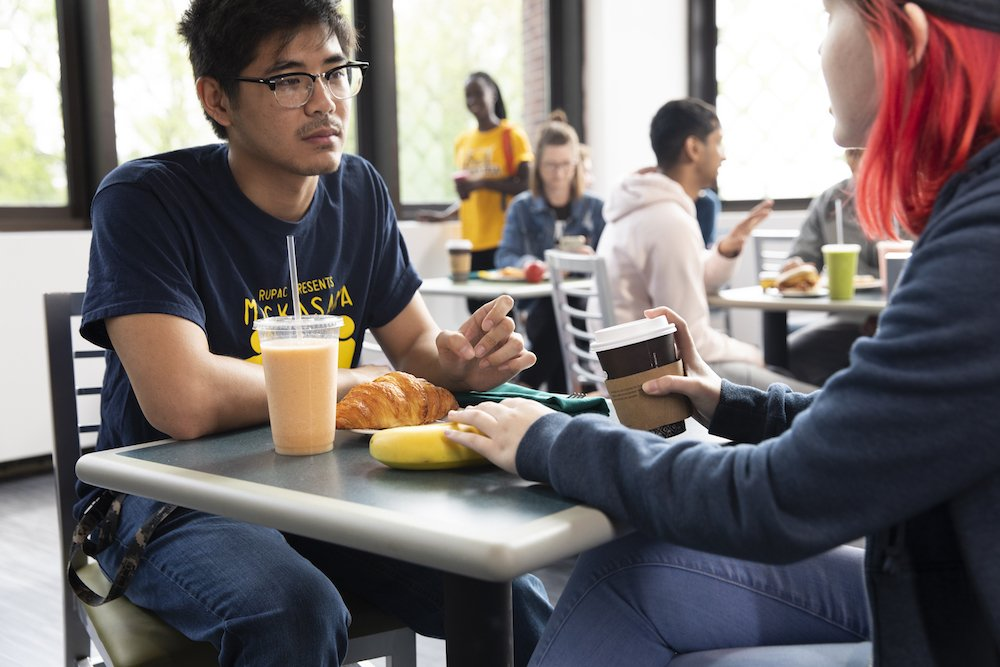 Two students dining in the Student Center Marketplace