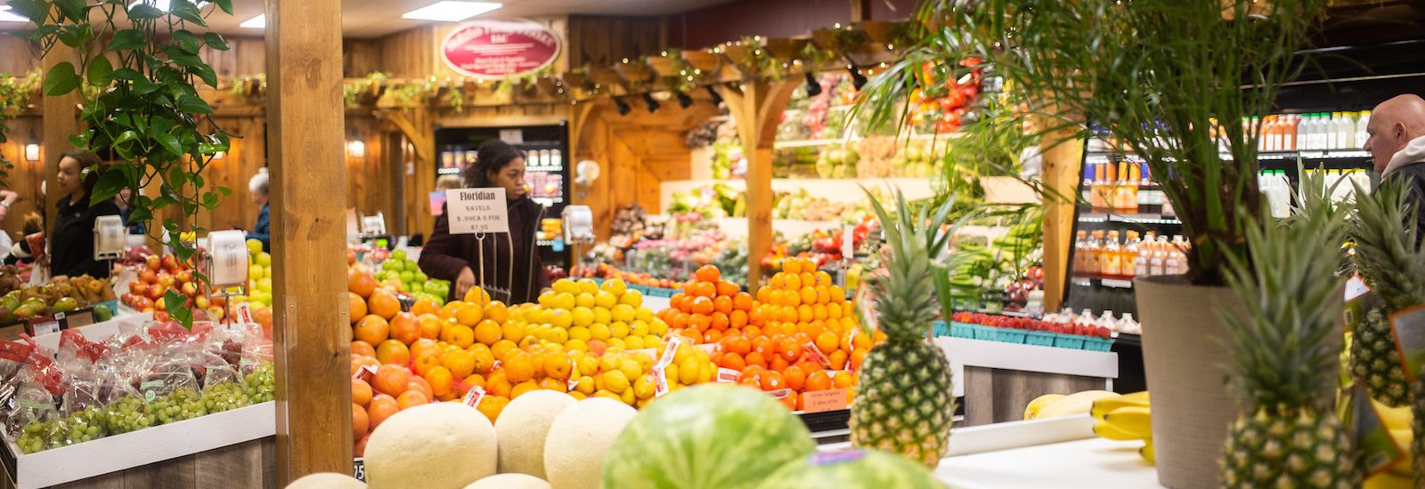 Inside colorful grocery store