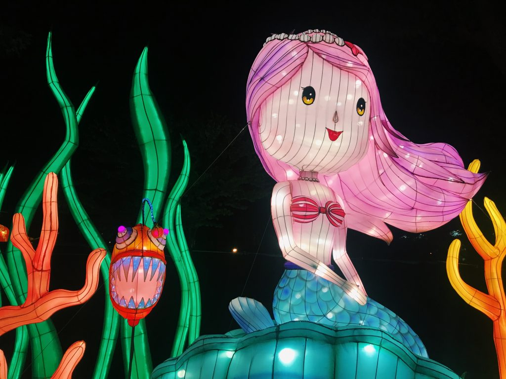 Photo of latern mermaid and fish at the Philadelphia Chinese Lantern Festival.
