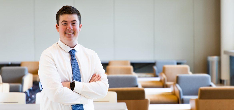 Rowan political science major Jason Brooks inside Business Hall