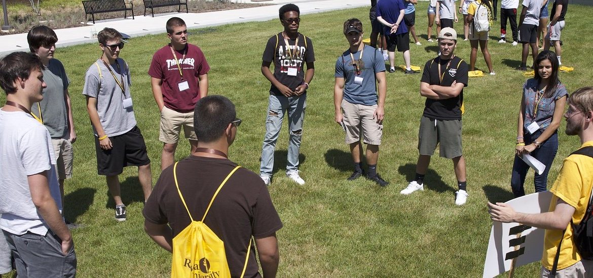 Rowan Choice students meet at an orientation outside of Wilson Hall