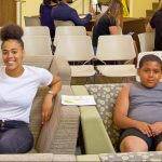 Sye'arra Dewey (PCI freshmen) with her family at orientation