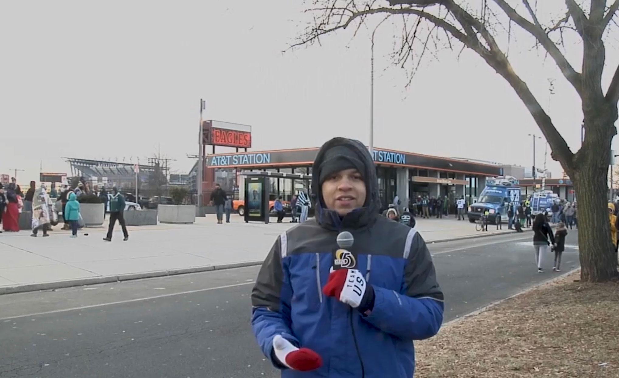 Leon Purvis reporting on the Philadelphia Eagles for Rowan University