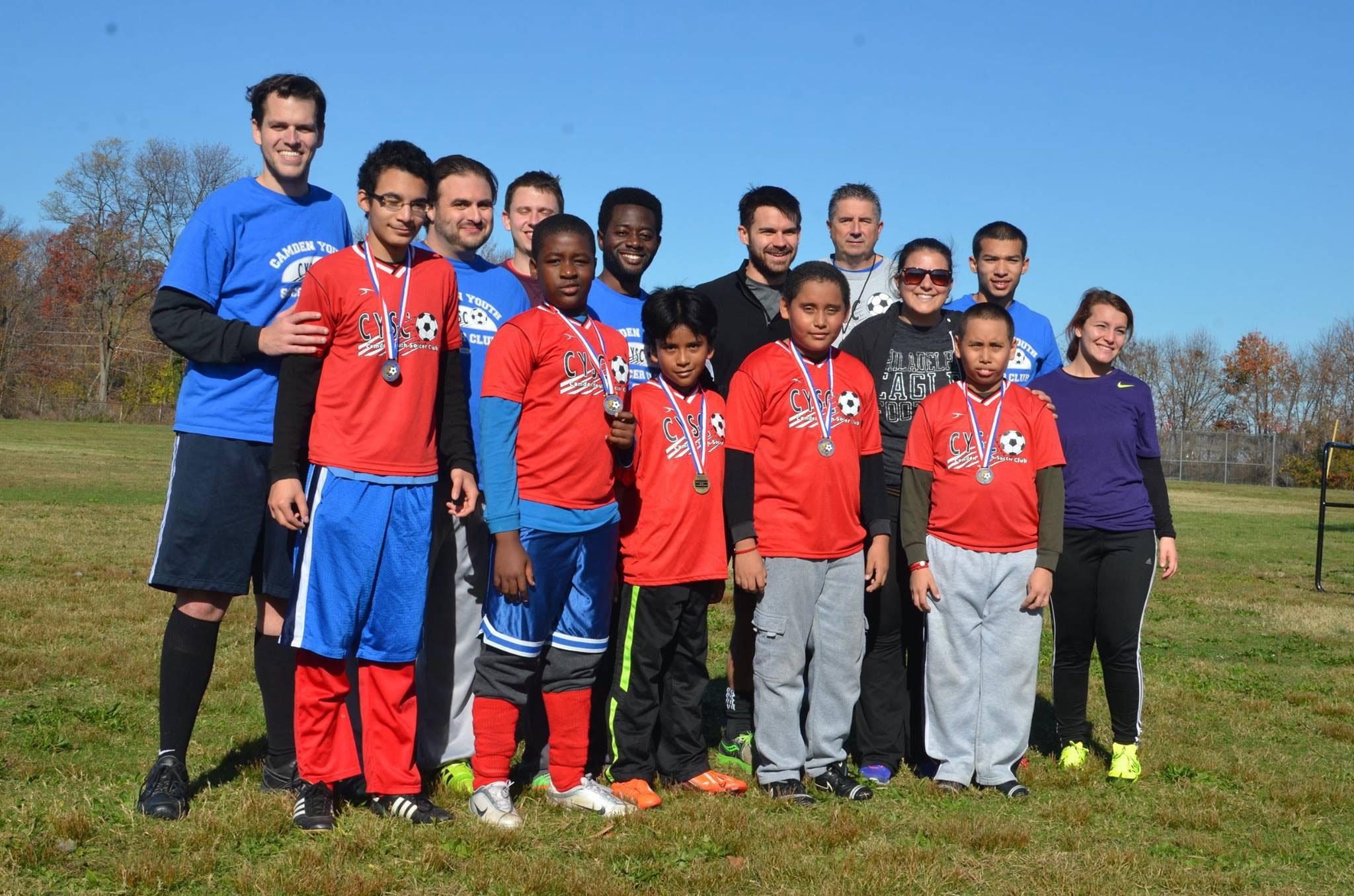Rowan alumna Calista Condo volunteering with a youth soccer league in Camden.