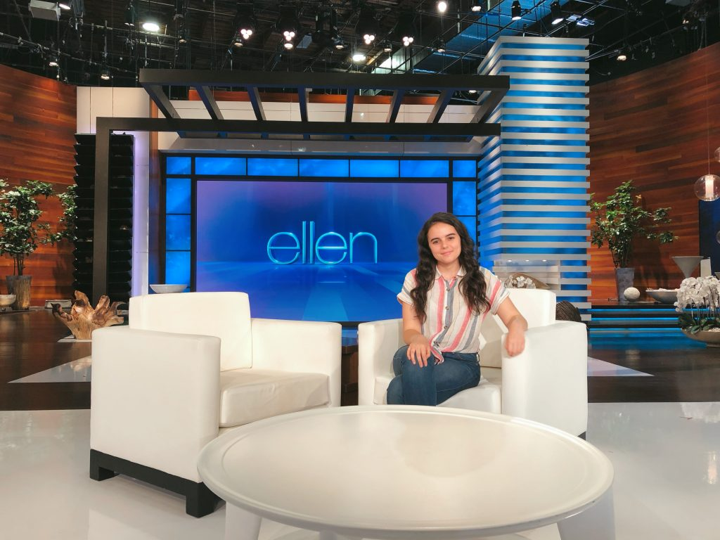 "Rowan Journalism and RTF major Victoria Todorova in the studio of ""The Ellen Show"""