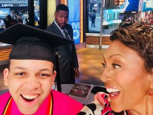 Rowan alumnus Leon Purvis with GMA hosts Robin Roberts and Michael Strahan