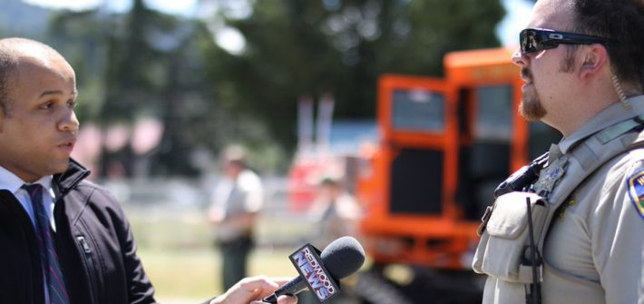 Rowan alumnus Leon Purvis conducting an interview for Redwood News