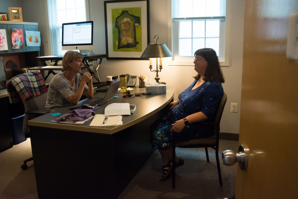 Professor Quigley speaking with Professor Garyantes in her office