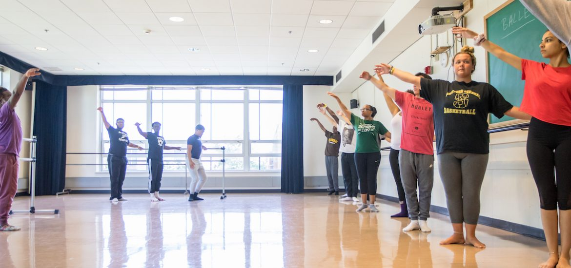 wide shot of students in their Elements of Dance class
