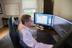 Alumnus Steve McKeon working in his at-home office