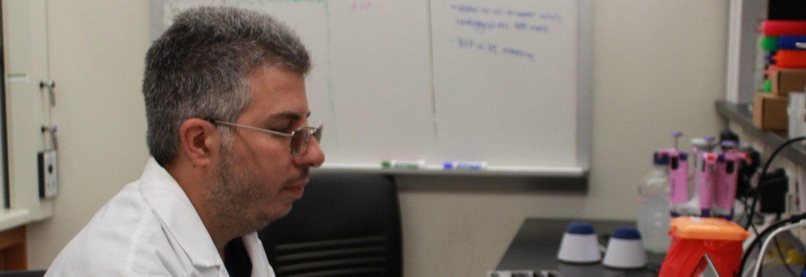 Gaspare Carollo, a biophysics major from Marlton, NJ, conducts research at his summer research internship at Rowan.