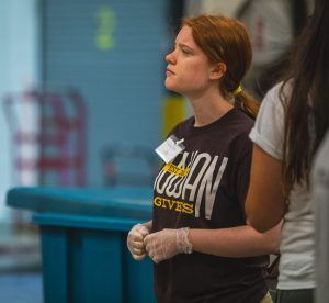 First-Year Volunteer Connection student leader Rose Dickmann looks on during her summer volunteer experience.