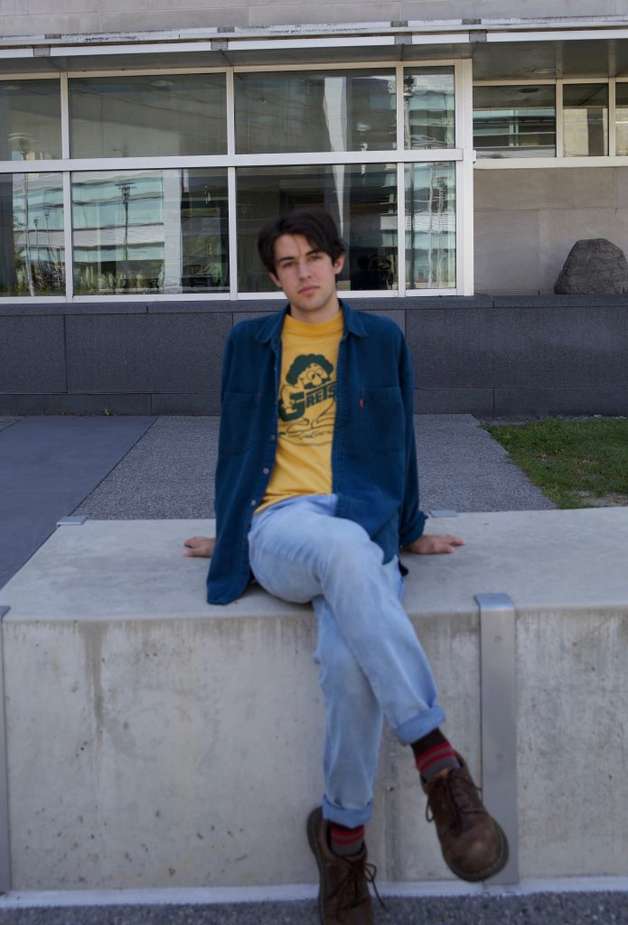 Rowan transfer student and Music Industry major Nikola Berardo photographed outside Engineering Hall