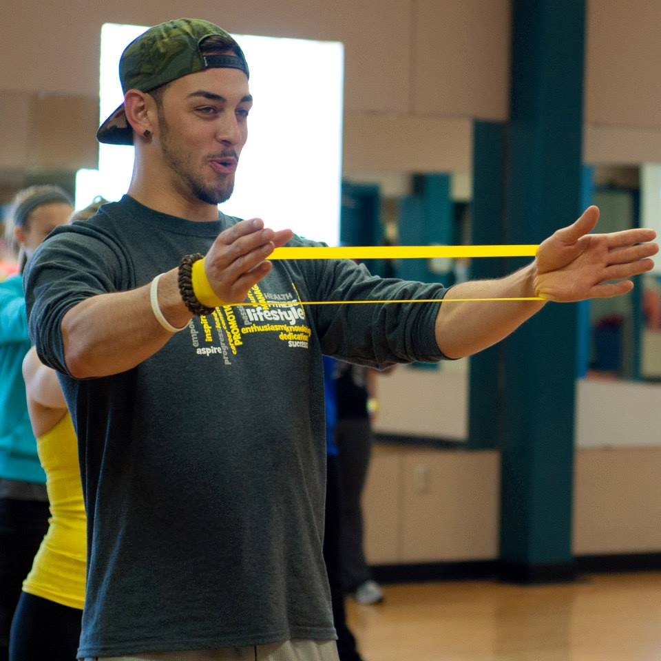 Cory Bennett leading a fitness class