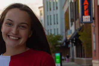 Freshman Exploratory Studies major Erin O'Grady is photographed on Rowan Boulevard