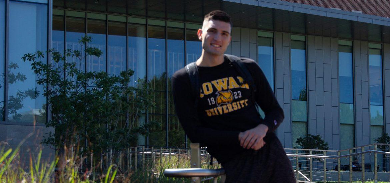 Rowan international student and marketing major Marko Minic outside Business Hall