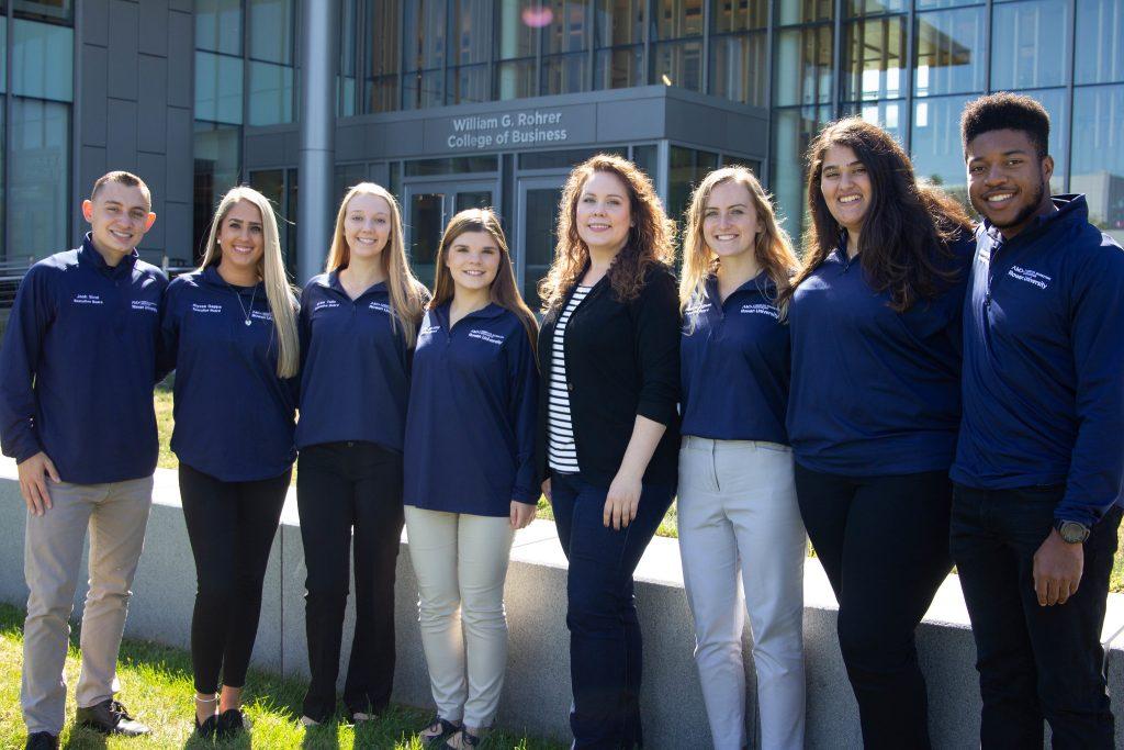 Assistant Professor Nina Krey with members of Rowan's branch of the American Marketing Association (AMA).