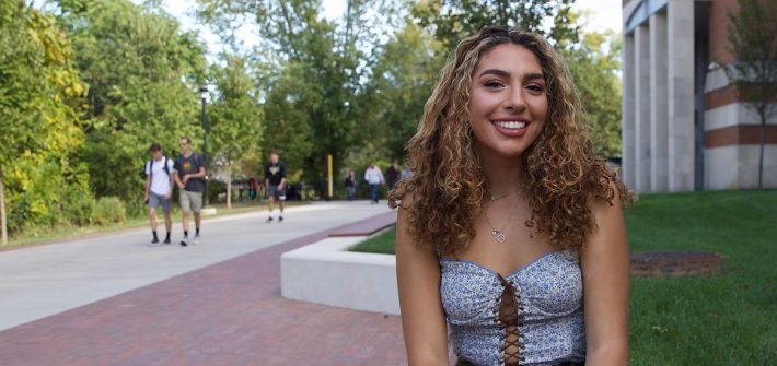 Psychology major Gianna Witasick photographed outside on Rowan's campus
