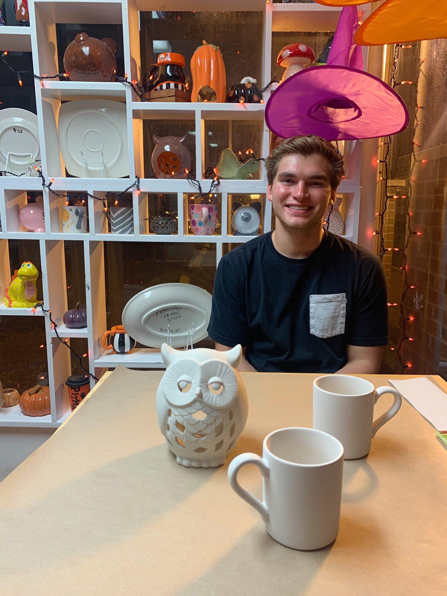 Author's friend at Fahrenheit Ceramic Studios.