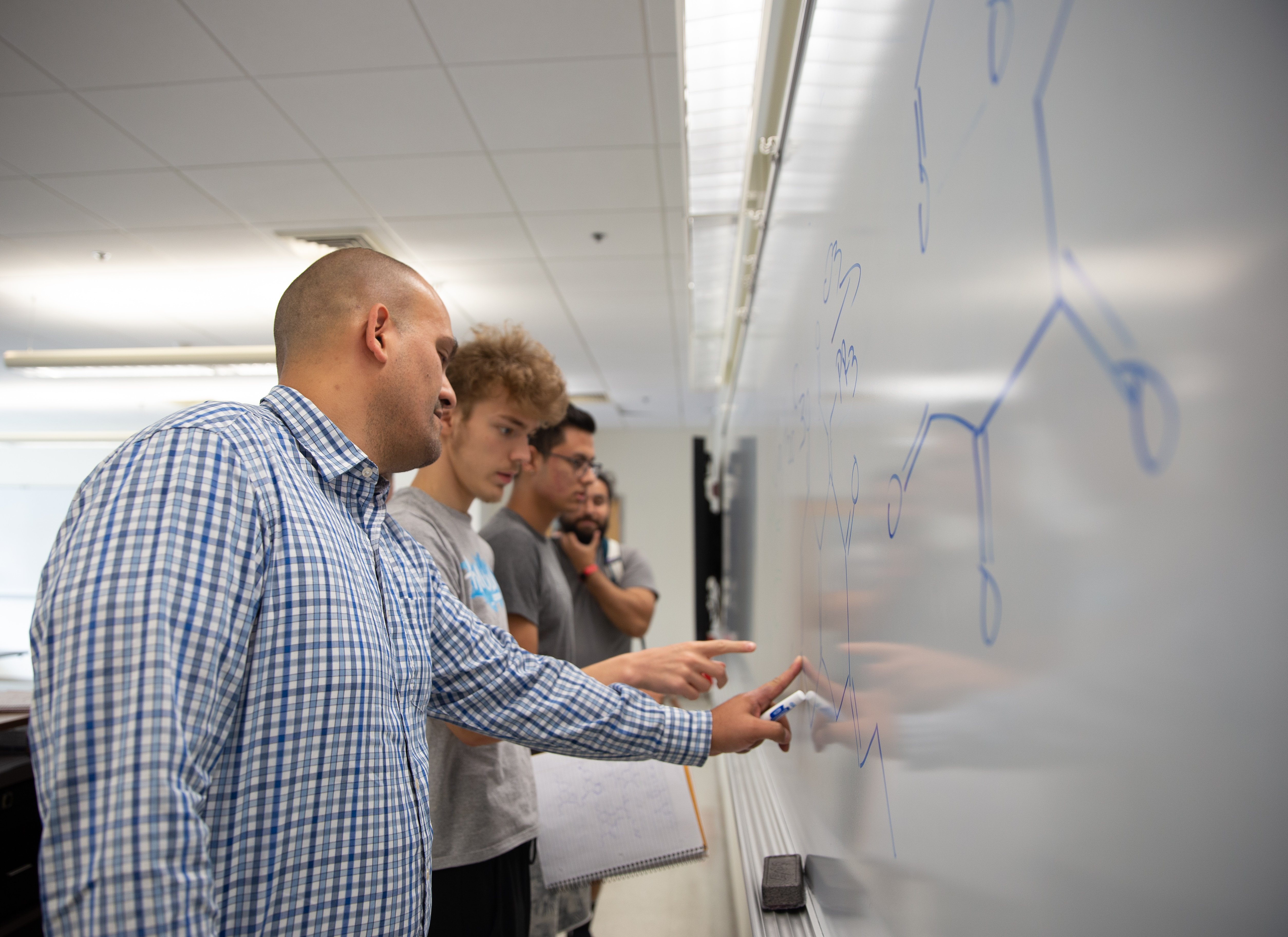 Dr. Moura-Letts interacting with students at a white board.