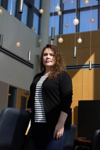 Assistant Professor Nina Krey photographed in Business Hall